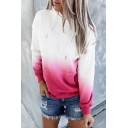 Trendy Womens Ombre Long Sleeve Drawstring Kangaroo Pocket Loose Fit Hoodie