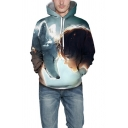 Fashionable Mens Hoodie Wolf Figure Head 3D Pattern Drawstring Long Sleeve Regular Fitted Light Blue Hoodie with Pocket