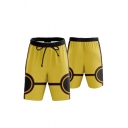 Basic Mens Shorts 3D Cosplay Glasses Printed Contrasted Knee-Length Regular Fitted Drawstring Waist Sweat Shorts