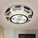 Geometric Clear Crystal Block Flushmount Contemporary LED Black Close to Ceiling Lamp