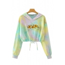 Womens Chic Hoodie Tie Dye Sunflower Pattern Drawstring Waist Cropped Long Sleeve Relaxed Fitted Hoodie
