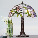 Coffee Domed Night Table Lamp Baroque 3 Bulbs Hand Cut Glass Pull Chain Nightstand Lighting with Blossom Pattern