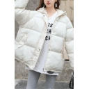 Trendy Girls' Long Sleeve Hooded Zipper Press Button Front Baggy Plain Puffer Jacket