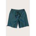 Green Basic Mens Shorts Bungee-Style Cuffs Knee-Length Regular Fitted Drawstring Waist Relaxed Shorts