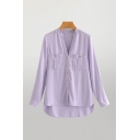 Basic Womens Solid Color Long Sleeve V-neck Button Up Chest Pockets High Low Hem Relaxed Fit Shirt Top