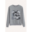 Retro Cigar Character Printed Crew Neck Full Sleeve Regular Fit Pullover Sweatshirt