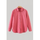 Simple Red Long Sleeve Spread Collar Button Up Curved Hem Loose Fit Shirt Top for Women