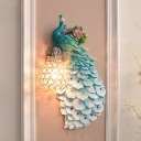1 Head Wall Light Sconce Traditional Peacock Resin Wall Lighting Fixture in White/Blue/Green with Crystal Ball Shade, Right/Left