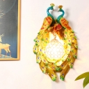Yellow 1 Head Wall Mount Lamp Countryside Resin Double Peacock Crystal Wall Lighting Fixture for Bedroom