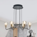 Simplicity Ball Chandelier Lamp Faceted Crystal 6/8 Bulbs Living Room Hanging Pendant Light in Black
