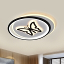 Black Round/Square Flush Ceiling Light Kids LED Acrylic Flushmount Lighting with Butterfly/Dolphin Pattern
