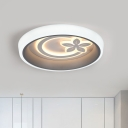 Acrylic Drum Flush Mount Lighting Fixture Kids LED Ceiling Lamp in White with Flower Pattern