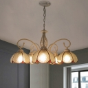 Flower Chandelier Light Mediterranean Cut Glass 5-Light White Pendant Lighting with Swirled Arm