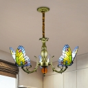 Cut Glass Butterfly Pendant Chandelier Baroque 3/5 Heads Orange/Yellow and Green Hanging Light Fixture with Curved Arm