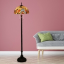 2 Bulbs Floor Lamp Victorian Floral Stained Glass Floor Reading Light in Copper with Bowl Shade
