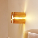 Rustic Style Cubic Wall Lighting Wood 1 Light Restaurant Flush Mount Wall Sconce in Beige