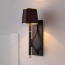 Barrel Metallic Sconce Light Vintage 1 Head Black Wall Mounted Lighting with Vertical Arm