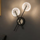 Circle Bedroom Flush Wall Sconce Metal LED Modern Wall Mount Lamp in Black, Warm/White Light