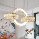 Crystal Rings LED Chandelier Modern Chrome Finish Hanging Pendant Light for Kitchen
