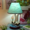 Sailing Pirate Ship Night Lamp Cartoon Resin 1 Light Blue Table Light with Cone Fabric Lamp Shade