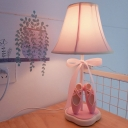 Pink Flared Nightstand Lamp Kids 1 Head Fabric Table Light with Bowknot and Ballet Shoes Decor
