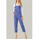 Womens Overalls Chic Solid Color Pocket Sleeveless Square-Neck Regular Fitted Tapered Overalls