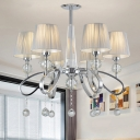 Pleated Fabric Cone Chandelier Modern 6-Light Chrome Suspended Lighting Fixture with Crystal Drop