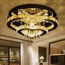 Simplicity Loving Heart Ceiling Flush Clear Crystal Living Room LED Flush Mount Lamp in Chrome