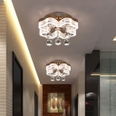 Chrome LED Flower Flushmount Lighting Minimalist Acrylic Ceiling Fixture with Crystal Ball Deco