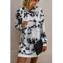 Dainty Girls Tie Dye Printed Pockets Drawstring Hooded Long Sleeve Short Straight Hoodie Dress in White
