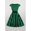 Novelty Womens Vertical Striped Grommet Belted Back Zipper Cape Sleeve Crew Neck Midi Fit & Flared Dress in Green