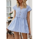 Cute Girls Stripe Printed Short Sleeve V-neck Button Up Ruffled Loose Fit Shirt in Blue