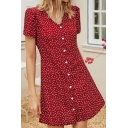 Gorgeous Womens Polka Dot Printed Short Sleeve V-neck Button Up Short A-line Dress in Red