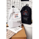 Preppy Popular Letter I LOVE YOU 3000 TIMES Printed Ribbon Embellished O-Ring Zip Up School Bag Canvas Backpack