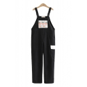 Stylish Womens Overalls Strawberry Checked Pattern Flap Pocket Buckle Full Length Overalls