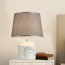Modernism 1 Light Nightstand Lamp Grey Barrel Task Lighting with Fabric Shade for Bedroom