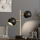 Global Bedside Night Table Lamp Metal 2 Bulbs Minimalist Desk Lighting with Round Pedestal in Black