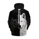 Popular 3D Hoodie Animal Two-color Wolf Feather Dreamcatcher Pattern Drawstring Pocket Regular Fit Long-sleeved Hooded Sweatshirt for Men