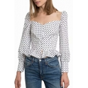 Polka Dot Printed Square Neck Long Sleeve Button Front Ruffle Hem Crop Blouse