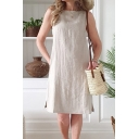 Leisure Elegant Ladies Sleeveless Round Neck Solid Color Slit Side Linen and Cotton Midi Swing Dress