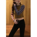 Retro Colorblocked Striped Print Round Neck Long Sleeve Slim Fit Cropped Yellow Sweater