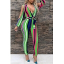 Womens 3D Jumpsuits Creative Colorblock Striped Printed Tie-Waist Cold Shoulder 7/8 Length Long Sleeve Skinny Fitted Jumpsuits