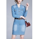 Chic Medium Wash Button Front Flap Pocket Belted Notched Collar 3/4 Sleeve Mini Bodycon Denim Dress for Women