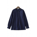 Basic Solid Color Long Sleeve Collarless Button Up Pleated Relaxed Fit Shirt Top for Ladies
