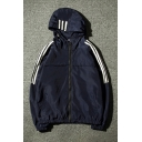 Cool Mens Jacket Paneled Side Stripe Zipper Detail Cuffed Relaxed Fit Long Sleeve Hooded Casual Jacket
