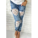 Womens Jeans Fashionable Medium Wash Distressed Lace Patchwork Zipper Fly Ankle Length Slim Fit Tapered Jeans