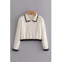 Girls Cute Stringy Selvedge Long Sleeve Point Collar Pearl Button Knit Regular Crop Cardigan