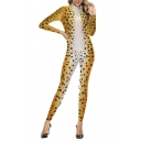 Womens 3D Jumpsuits Simple Leopard Skin Printed Long Sleeve Slim Fitted Mock Neck Ankle Length Jumpsuits