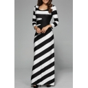 Women's Stylish Black And White Stripes Print Round Neck Long Sleeve Maxi Swing Dress