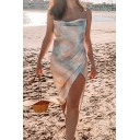 Sexy Womens Tie Dye Printed Cowl Neck Mid Wrap Slip Dress in Apricot